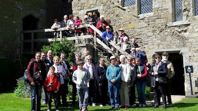 A group photograph from the visit to Stokesay Castle